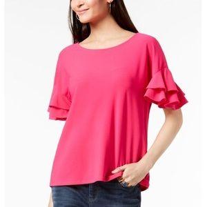 INC Ruffled Short Sleeve Top Scoop Neck Pink